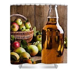 Bottled Cider With Apples Shower Curtain by Amanda Elwell