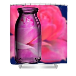 Bottled Romance A Romantic Rose Shower Curtain