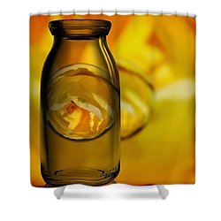 Bottled Yellow Rose Marble Shower Curtain
