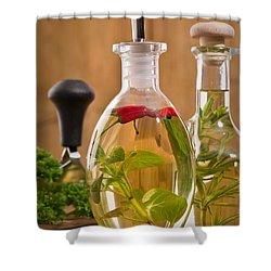 Bottles Of Olive Oil Shower Curtain by Amanda Elwell