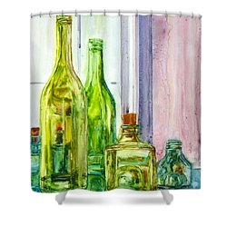 Bottles - Shades Of Green Shower Curtain