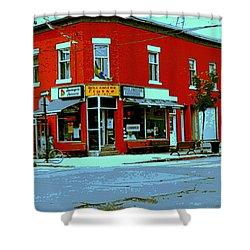 Boulangerie Patisserie Clarke Sandwich Shop Corner Depanneur Montreal Street Scene Art Shower Curtain by Carole Spandau