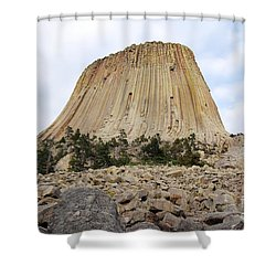 Shower Curtain featuring the photograph Boulder Field Beneath Devils Tower National Monument Wyoming Usa by Shawn O'Brien