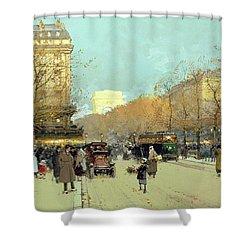 Boulevard Haussmann In Paris Shower Curtain by Eugene Galien-Laloue