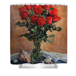 Bouquet Of Red Roses On The Birthday Shower Curtain