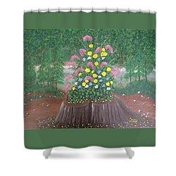 Bouquet On A Stump Shower Curtain