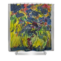Shower Curtain featuring the painting Bouquet With Blue Flowers by Avonelle Kelsey