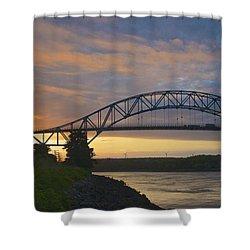 Bourne Bridge Sunrise Shower Curtain by Amazing Jules