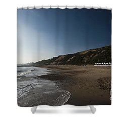 Bournemouth Beach Huts Shower Curtain by Anne Gilbert