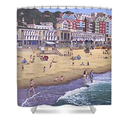 Bournemouth Boscombe Beach Sea Front Shower Curtain by Martin Davey
