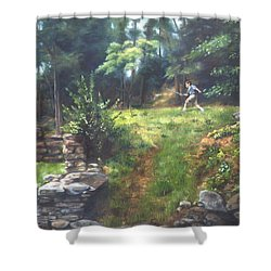 Shower Curtain featuring the painting Bouts Of Fantasy by Lori Brackett
