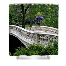 Bow Bridge Flower Pots - Central Park N Y C Shower Curtain by Christiane Schulze Art And Photography