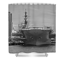 Bow Of The Uss Midway Museum Cv 41 Aircraft Carrier - Black And White Shower Curtain