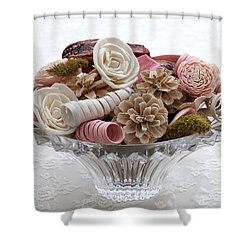 Bowl Of Potpourri On Lace Shower Curtain