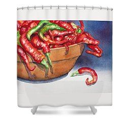 Bowl Of Red Hot Chili Peppers Shower Curtain by Lyn DeLano