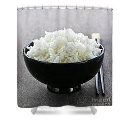 Bowl Of Rice With Chopsticks Shower Curtain by Elena Elisseeva