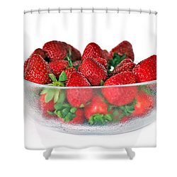 Bowl Of Strawberries Shower Curtain by Kaye Menner