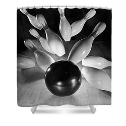 Bowling Ball Strikes Pins Shower Curtain by Underwood Archives