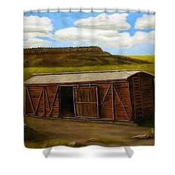Boxcar On The Plains Shower Curtain by Sheri Keith