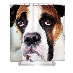 Boxer Art - Sad Eyes Shower Curtain by Sharon Cummings