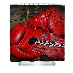 Boxing Gloves Shower Curtain by Paul Ward