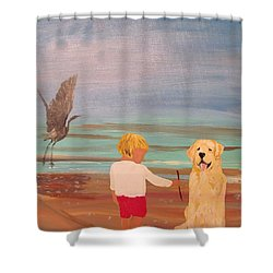 Boy And Dog Shower Curtain