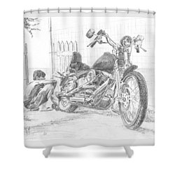 Boy And Motorcycle Shower Curtain