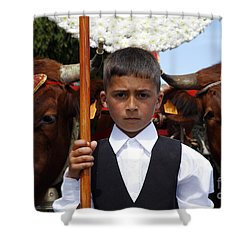 Boy And Oxen Shower Curtain by Gaspar Avila