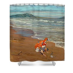 Boy At The Seashore Shower Curtain