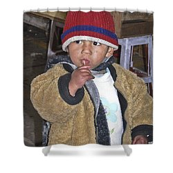 Boy Eating Quail Egg - Cusco Peru Shower Curtain