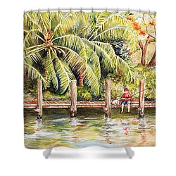 Boy Fishing With Dog Shower Curtain by Janis Lee Colon