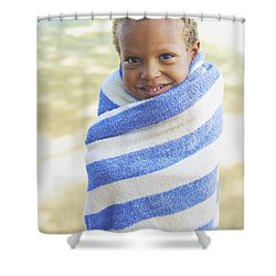 Boy In Towel Shower Curtain by Kicka Witte