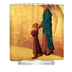 Boy Leading The Blind Angel Shower Curtain