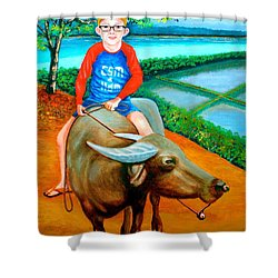 Boy Riding A Carabao Shower Curtain