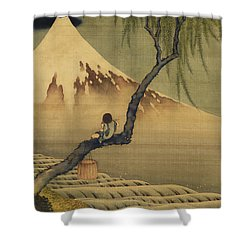 Boy Viewing Mount Fuji Shower Curtain by Katsushika Hokusai