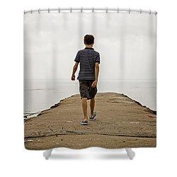 Boy Walking On Concrete Beach Pier Shower Curtain by Edward Fielding