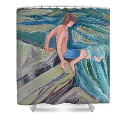 Shower Curtain featuring the painting Boy With Foot In Falls by Betty Pieper