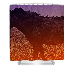 Shower Curtain featuring the digital art Boy With Horse by Cathy Anderson