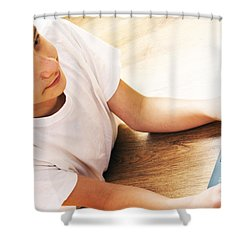 Boy With Notebook Shower Curtain by Michal Bednarek