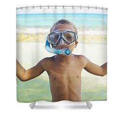 Boy With Snorkel Shower Curtain by Kicka Witte