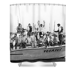Boys Hold Up Their Fish Shower Curtain by Underwood Archives