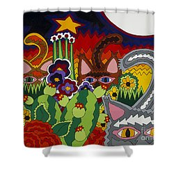 Boys Night Out Shower Curtain by Rojax Art