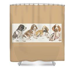 Bracco Italiano Puppies Shower Curtain