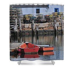 Shower Curtain featuring the photograph Bradley Wharf Dinghies by Mike Martin
