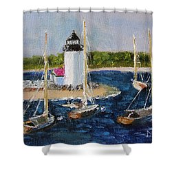 Shower Curtain featuring the painting Brant Lighthouse Nantucket by Michael Helfen