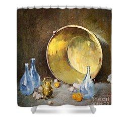 Shower Curtain featuring the digital art Brass Kettle With Blue Bottles After Carlsen by Lianne Schneider