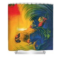 Brassier Automobile - Vintage Poster Shower Curtain by World Art Prints And Designs