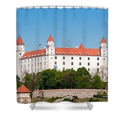 Shower Curtain featuring the photograph Bratislava Castle by Les Palenik