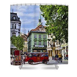 Bratislava Town Square Shower Curtain by Jon Berghoff