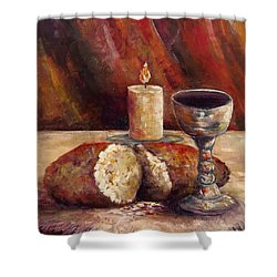 Bread And Wine Shower Curtain by Lou Ann Bagnall